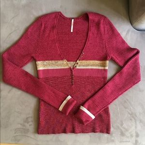 Free People Red Striped Sweater with button detail